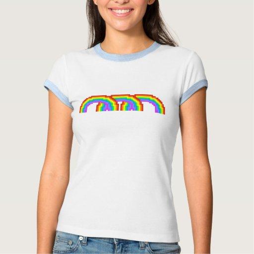 Camiseta colorida del arco iris del arte del pixel playeras
