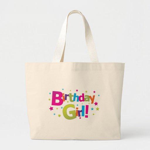 Camiseta colorida del chica del cumpleaños bolsas