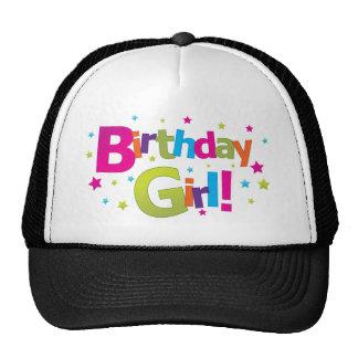 Camiseta colorida del chica del cumpleaños gorras de camionero