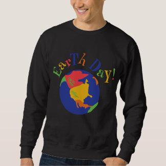 Camiseta colorida del negro del Día de la Tierra Sudadera