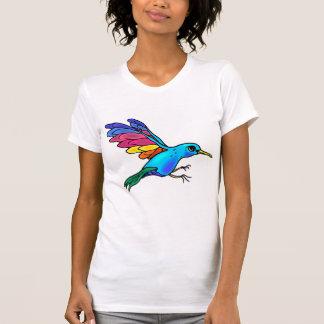 Camiseta colorida del pájaro playeras