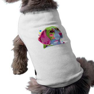 Camiseta colorida del perrito del beagle playera sin mangas para perro