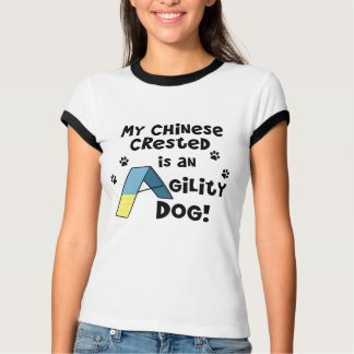 Camiseta con cresta china de las señoras del perro playeras
