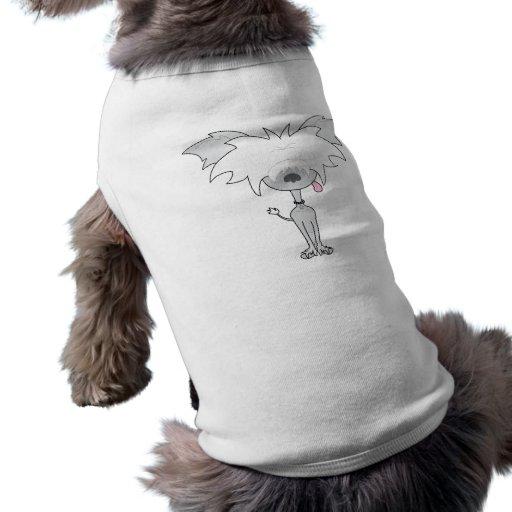 Camiseta con cresta china del mascota del dibujo a playera sin mangas para perro