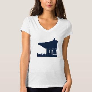 Camiseta con cuello de pico coreana de las señoras playera