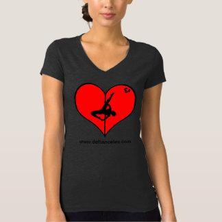 Camiseta con cuello de pico de las señoras de I <3 Playera