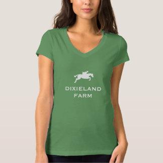 Camiseta con cuello de pico del lema de la granja remera