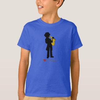 Camiseta con el ejemplo del jugador de saxofón camisas