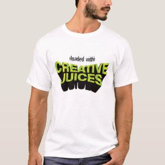 Camiseta creativa verde de los jugos