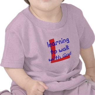 Camiseta cristiana del bebé - aprendiendo caminar