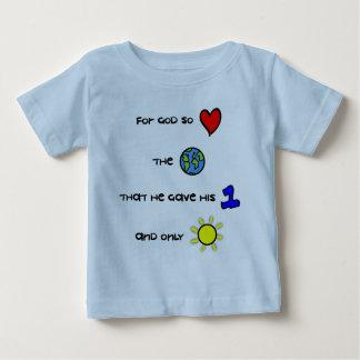 Camiseta cristiana del bebé - para dios amó tan el