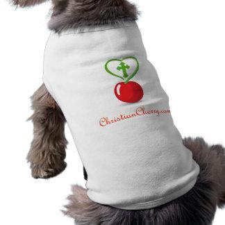 Camiseta cristiana del perro de la cereza camiseta de mascota