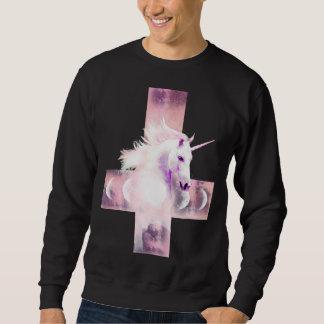 Camiseta cruzada al revés del unicornio sudadera con capucha