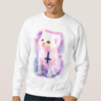Camiseta cruzada invertida del gatito suéter