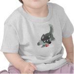 Camiseta curiosa linda del bebé del lobo del dibuj