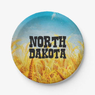 CAMISETA Dakota del Norte Plato De Papel De 7 Pulgadas