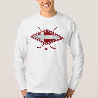 Camiseta danesa del logotipo del hockey sobre