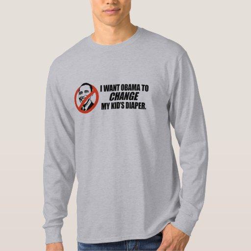 Camiseta de Anti-Obama - cambie mi pañal de los Camisas
