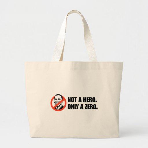 Camiseta de Anti-Obama - no héroe Bolsa