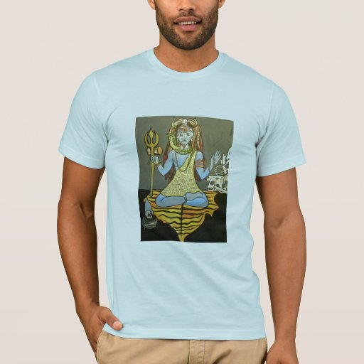 Camiseta de Bhairava Shiva de los hombres azul