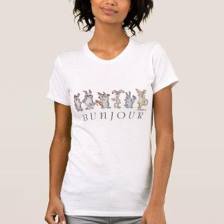 Camiseta de Bunjour de los conejos de conejito del Remera
