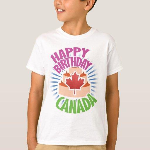 Camiseta de Canadá del feliz cumpleaños de los