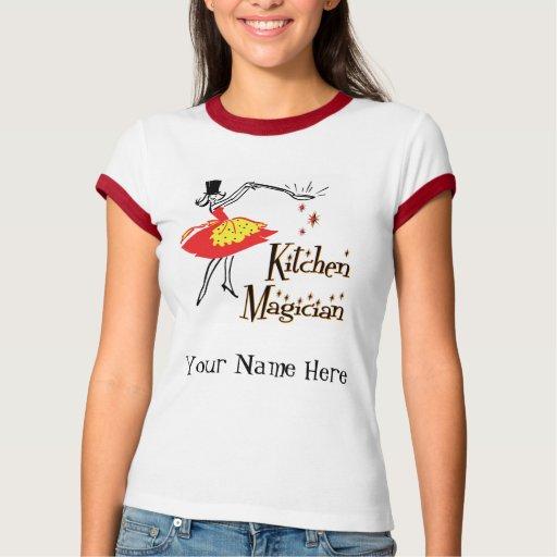 Camiseta de cocinar retra del arte del mago de la
