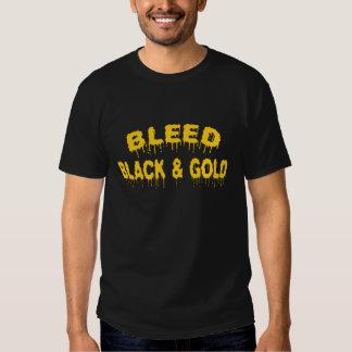 Camiseta de corrimiento del negro y del oro playera