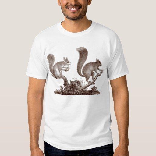 Camiseta de dos ardillas - del grabado antiguo playera