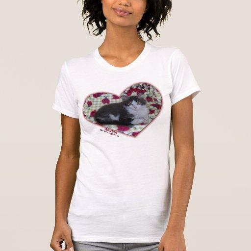 Camiseta de dos piernas del gatito de los corazone