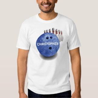 Camiseta de encargo de la bola de los bolos azules playeras