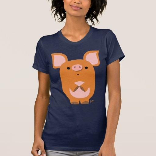 Camiseta de encargo de las mujeres del cerdo tímid
