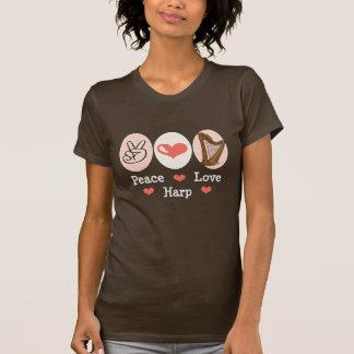 Camiseta de la arpa del amor de la paz