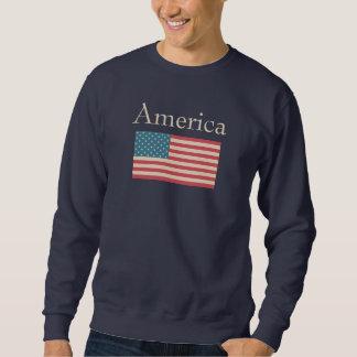 Camiseta de la bandera americana pull over sudadera