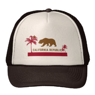 Camiseta de la bandera de California - palmeras y  Gorros Bordados