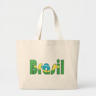 Camiseta de la bandera del Brasil Bolsa Tela Grande