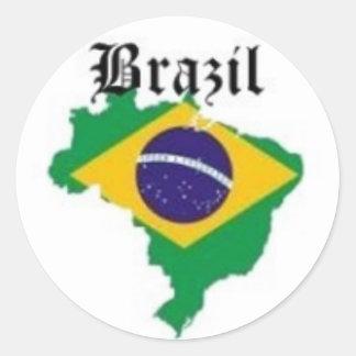 CAMISETA DE LA BANDERA DEL BRASIL Y ETC PEGATINA REDONDA
