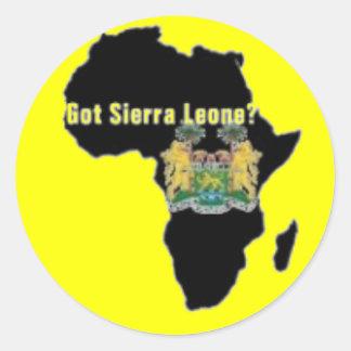 Camiseta de la bandera del Sierra Leone (África) y Pegatina Redonda