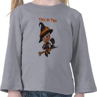 Camiseta de la bruja y del gatito