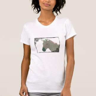 Camiseta de la cebra de la turquesa del vintage polera