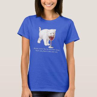 Camiseta de la cita del amante del vino y del gato