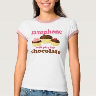 Camiseta de la cita del chocolate del saxofón remera