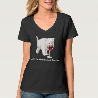 Camiseta de la cita del gato del vino rojo de las