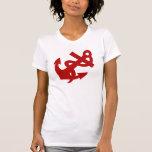 Camiseta de la cuerda y del ancla en camiseta roja