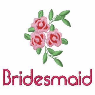Camiseta de la dama de honor con los rosas bordado