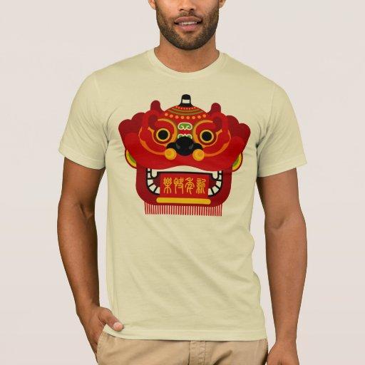 Camiseta de la danza de león de la Feliz Año Nuevo