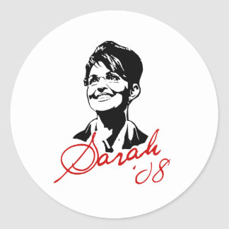 Camiseta de la firma de Sarah Palin Etiquetas Redondas
