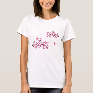 Camiseta de la flor de cerezo y de los pájaros