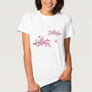 Camiseta de la flor de cerezo y de los pájaros playera