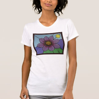 Camiseta de la flor del vitral
